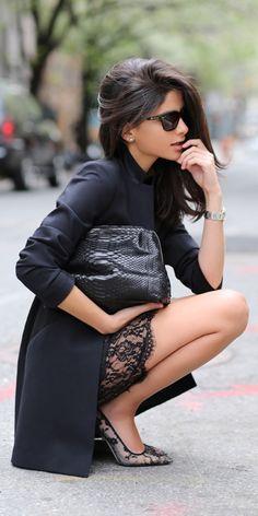 Black + lace accents.