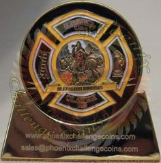 Fire coin done for an Olathe, KS Firehouse custom challenge coin done by Phoenix Challenge Coins