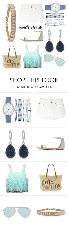 """""""Denim in the Sun"""" by methebault ❤ liked on Polyvore featuring A.X.N.Y., Yves Saint Laurent, Nine West, Charlotte Russe, Straw Studios and Lydell NYC"""