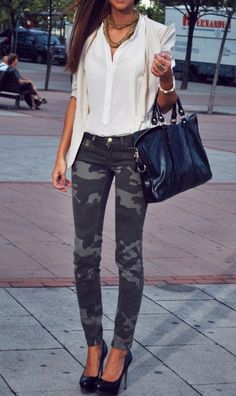 The Classic White Blouse,  with camo tights...great look!