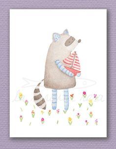 Raccoon nursery watercolor illustration print for kids room animal wall art by LaSardinaRosa