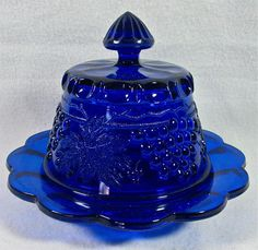 Vintage Mosser Glass Cobalt Blue Grape Cable Covered Butter Dish Mint