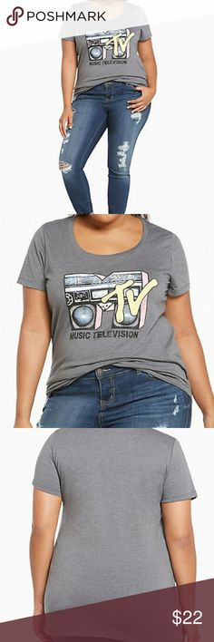 """➕Torrid✅MTV Raglan Tee✅ Worn only a couple times. Great condition. TORRID Size 3.   Remember when MTV used to play music videos? This grey tee looks like it does with an 80's-inspired """"MTV"""" boombox graphic that turns way up with distressed detailing on the silky-soft cotton knit.  Bundle 2 or more items & Save 15%  Fast shipper / Top rated seller / Posh Ambassador 💪🌻❤ Pretty~Vibe~Finds torrid Tops Tees - Short Sleeve"""