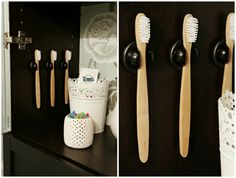 IHeart Organizing: Quick Tip: Get a Grip on your Toothbrush Grippers used for holding pens and pencils, available at office supply stores to hold toothbrushes. Toothbrush Organization, Toothbrush Storage, Bathroom Organization, Bathroom Storage, Organization Hacks, Small Bathroom, Bathroom Ideas, Bathrooms, Toothbrush Holders