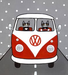 Red and White Bus Original Cat Folk Art Painting by KilkennycatArt