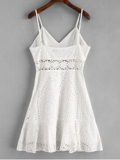 Crochet Panel Eyelet Cami Dress - Branco S Cute Summer Dresses, Fabulous Dresses, Cute Dresses, Short Dresses, Summer Outfits, Lace Top Outfits, Casual Skirt Outfits, Casual Dresses, Applique Dress