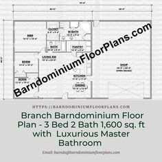 $595. Branch 3 Bed – 2 Bath – 1,600 sq. ft. with Luxurious Master Bathroom. We sell semi-custom Barndominium floor plans and provide helpful tips to design and build your home whether it is DIY or you are paying a company. #architecture #barndominiums #home #modernbarn #barnhomefloorplans #beautifulbarn #homefloorplan #barnhomedesign #housedesign #barndominiumfloorplans #floorplan #dreambarn #barnhouse #shop #barndominiumliving #barndominiumdesign #barn #barns