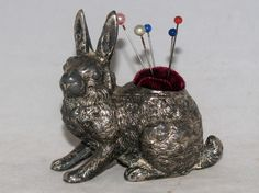 ANTIQUE VICTORIAN SILVER PLATED FIGURAL RABBIT BUNNY SEWING PIN CUSHION