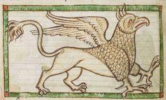 Animal detail from medieval illuminated manuscript, British Library Harley MS 3244, 1236-c 1250, f38v