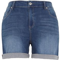 Melissa Mccarthy Seven7 Plus Cuffed Girlfriend Shorts ($74) ❤ liked on Polyvore featuring shorts, blue, plus size, cuffed shorts, cuff shorts, blue shorts, zipper shorts and plus size shorts