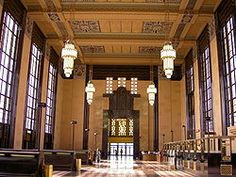 """The Union Station, at 801 South 10th Street in Omaha, Nebraska, known also as Union Passenger Terminal, is """"one of the finest examples of Art Deco architecture in the Midwest."""" Designed by Gilbert Stanley Underwood  Completed 1931."""