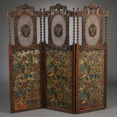 Continental Jacobethan-style Three-panel Carved Oak, Caned, and Painted Leather Floor Screen, c. 1900.
