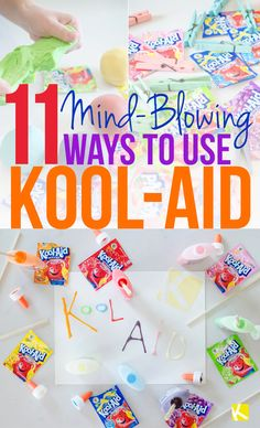 """Does anything scream """"childhood"""" more than Kool-Aid? But did you know how many other things you can do with Kool-Aid? Well, Kool-Aid playdough, for one! Projects For Kids, Diy For Kids, Crafts For Kids, Craft Projects, Toddler Crafts, Project Ideas, Kool Aid, Fun Crafts, Diy And Crafts"""