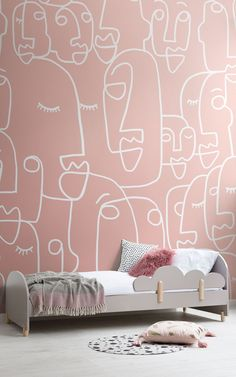 Introduce trending dusty pink tones and quirky design to your walls with this pink face drawing wallpaper, a fresh mural. Bedroom Murals, Bedroom Wall, Kids Bedroom, Bedroom Decor, Deco Design, Wall Design, Design Shop, Design Design, Drawing Wallpaper