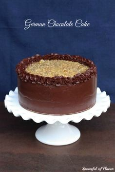 German Chocolate Cake ~ Perfect homemade cake loaded with coconut, pecans and chocolate!