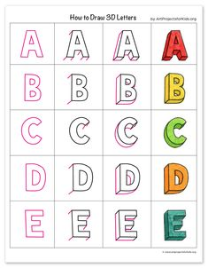 """Learn how to draw letters with a """"cheat sheet"""" that gives you a clear example of the entire alphabet, along with a few tracing templates for practice. Drawing Letters, 3d Letters, Letter Art, How To Draw Letters, Hand Lettering Alphabet, Block Lettering, Lettering Guide, Block Letter Fonts, Letras Cool"""