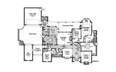 #floorplan #twostory  First Floor Plan of French Country   Tudor   House Plan 66086