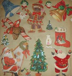 Vintage Christmas pages from 60s scrapbook paper cards collage re purpose
