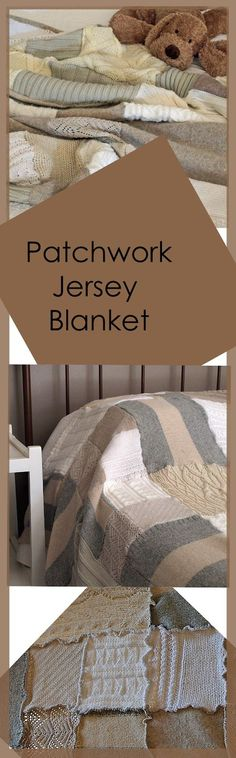 The Jersey [Jumper or Sweater] blanket is finished at last! The  blanket is made from many vintage jerseys which I collected over a few mont...