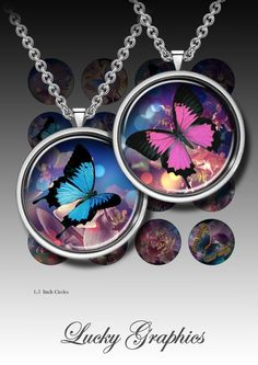 ORCHIDS AND BUTTERFLIES Digital collage sheet 1,5 inch circle bottle cap images for resin jewelry