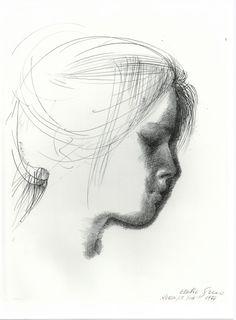 Emilio Greco, Volto, disegno china -inchiostro, 1976, courtesy Archivio Greco, Roma.