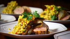 Pork Tenderloin with Caramelized Vidalia Mashed Potatoes and Sweet Corn