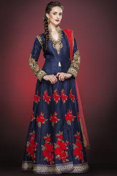 Blue Raw #Silk Churidar #Anarkali #Suit with Dupatta | US$563 | Shop It Here: http://www.sareegalaxy.com/women/salwar-kameez/blue-raw-silk-churidar-anarkali-suit-with-dupatta-ksv6g1707-sg