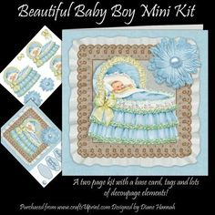 Beautiful Baby Boy Mini Kit on Craftsuprint designed by Diane Hannah - A beautiful baby boy in a bassinet. Includes two pages with a base card, tags, and lots of decoupage elements to make one complete card front. - Now available for download!