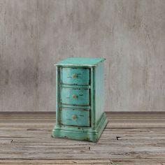 This cute chest of drawers is perfect as a night stand or end table in a living space.  In a french country style, it's distressed look is a perfect match for those who love the color blue.  This is a unique piece in light turquoise. Dimensions:  28.5 inches H x 16.5 inches W x 19.5 inches D