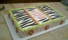 Going Away Cake Going Away Cakes, Creative Cakes, Zebra Print, Cake Ideas, Muffins, Challenges, Desserts, Food, Tailgate Desserts