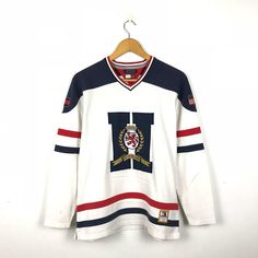 e2a78272 TOMMY HILFIGER Vintage 90s Tommy Hilfiger Crest Big Logo Usa Hockey / Rugby  Number 8 Long Sleeve Shirt Size Small