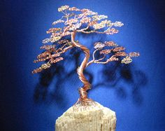 Gemstone Wire Bonsai Beaded Tree Sculpture Ready to by CassandraZ