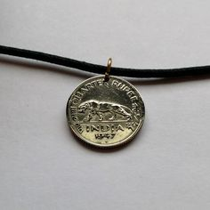 1947 UK British India 1/4 Rupee coin pendant necklace Indian TIGER Panther Puma lion leopard jaguar jungle cat animal Nagari Urdu No.000647 by acnyCOINJEWELRY on Etsy