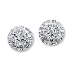 A cluster of round diamonds sparkles in each of these lovely earrings for her. The white gold earrings are secured with friction backs and have a total diamond weight of carat. Bar Stud Earrings, Gold Diamond Earrings, Unique Earrings, Flower Earrings, Diamond Stud, Silver Earrings, Diamond Jewelry, Gold Stock, Kay Jewelers