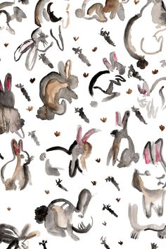 All of the Bunnies Greeting Card - Watercolour Illustration by TeganBLittle by teganblittle on Etsy