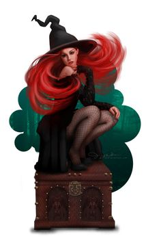Could you handle the junk in this trunk? Picture  (2d, fantasy, illustration, witch, magic, pin up, hat)