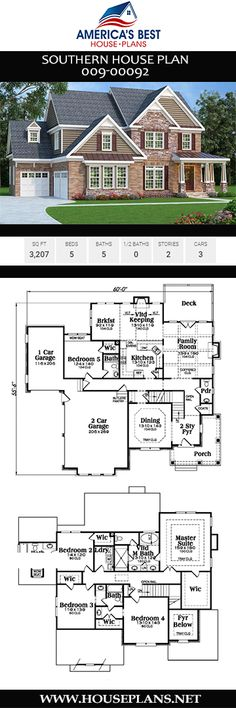 Southern House Plan Southern House Plan America s Best House Plans besthouseplans Southern House Plans A spacious 3207 sq ft Southern house nbsp hellip Southern House Plans, Southern Homes, Best House Plans, Dream House Plans, Keeping Room, Open Floor, Car Garage, New Homes, Tiny Homes