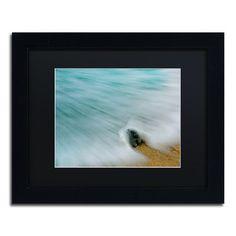 Trademark Art Whelk Seashell and Misty Wave Framed Photographic Print