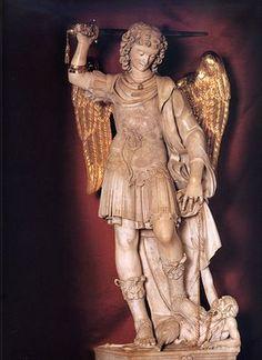 Statue of S Michael the Archangel at the Santuario San Michele Sacred Architecture, Catholic Art, Religious Art, La Salette, Juan Pablo Ii, Kunst Online, Angel Warrior, Tribute, Stone Sculpture