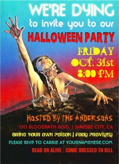 Horror movie style retro #halloween_party_invitations