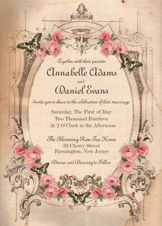 Butterfly and Pink Roses Wedding Invitation, Vintage Shabby Chic Invite, Elegant Romantic Suite, Printable or Printed Shabby Chic Invitations, Vintage Wedding Invitations, Printable Wedding Invitations, Bridal Shower Invitations, Wedding Stationary, Party Invitations, Blooming Rose, Rose Wedding, Wedding Things