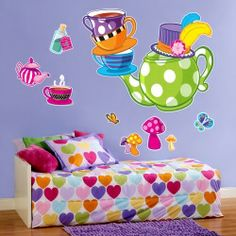 Topsy Turvy Tea Party Giant Wall Decals