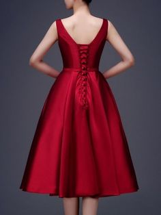 Wine Red Bowknot Waist Lacing Back Sleeveless Midi Prom Dress | Choies