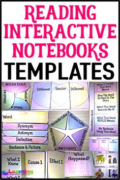 Engage students in their reading with these reading interactive notebooks. You can use them with ANY book! Reading Genres, Reading Comprehension, Reading Strategies, Comprehension Activities, Reading Skills, Teaching Reading, Learning, Text To World, Text To Text