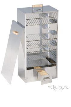 Fumoir à viande et poisson en inox, modèle rectangulaire 38x26,5x80 cm. Modèle polyvalent