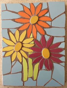 Three gerberas mosaic wall hanging :-) Fx