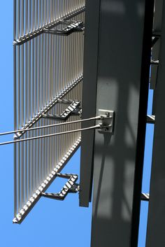 Detail of curtain wall connection and ceramic tubes