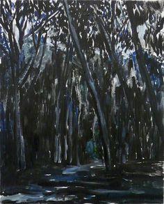 "Mykolé, ""Forest - night"", 2013, 41 x 33 cm Oil, canvas. Contemporary landscape paintings."