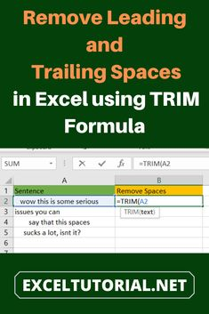 Leading spaces those you can see at the start of any text and Trailing spaces will be visible at the end of any text. You will mainly see them in the way when you will need to perform operations in Excel. Computer Programming, Computer Science, Computer Tips, Microsoft Excel Formulas, Excel Hacks, Software Projects, Powerpoint Tips, Office Programs, Finance Jobs