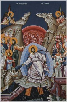 This is one of my favorite Eastern Orthodox icons. It is referred to as Christ's Descent into Hades, Anastasis or Resurrection Icon. It is the primary icon of Pascha (Easter). Some key features: … Religious Images, Religious Icons, Religious Art, Byzantine Icons, Byzantine Art, La Résurrection Du Christ, Orthodox Easter, Sign Of The Cross, Christ Is Risen
